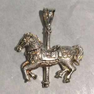 "STERLING SILVER CAROUSEL HORSE 1"" PENDENT"